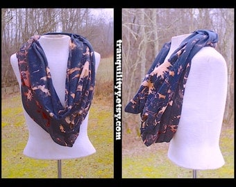 Bleached Tye Dye Infinity Scarf, Up Cycle Jersey Knit , Large Bleached Tie Dye T Shirt Scarf, Handmade Tranquilityyy