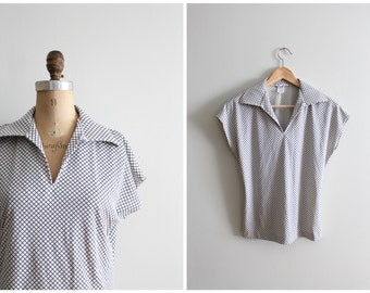 1970s bias windowpane check print top - wide pointed collar shirt / vintage 70s ladies top - wide collared shirt / 70s blue & ivory top