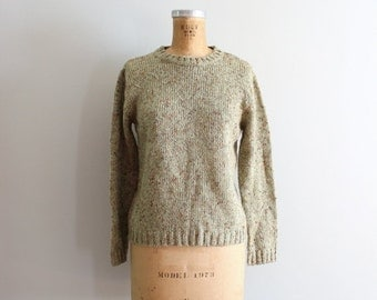 SALE / celery green crewneck sweater - avacado & pumpkin marled yarn / Haband - vintage 80s sweater / 80s preppy sweater - olive green sweat