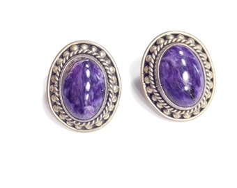 Vintage Russian Charoite Sterling Earrings Purple Gem Rare Beauty