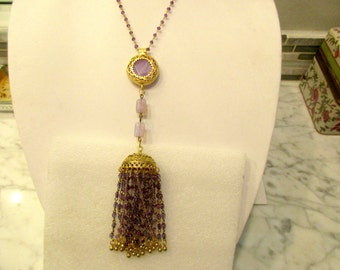 Spellbinding AMETHYST Pendant w/Fancy 24K Gold Plate Bezel on Genuine Amethyst Rosary Chain w/Turkish Bead Cap & Amethyst TASSELS/Toggle