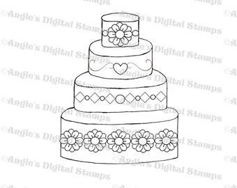 Wedding Cake Digital Stamp Image