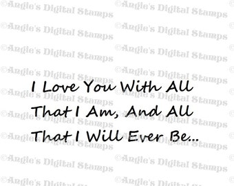 I Love You Quote Digital Stamp Image