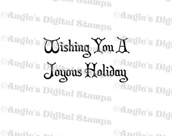 Wishing You A Joyous Holiday Quote Digital Stamp Image