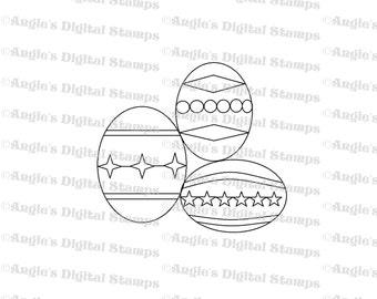 Easter Eggs Digital Stamp Image