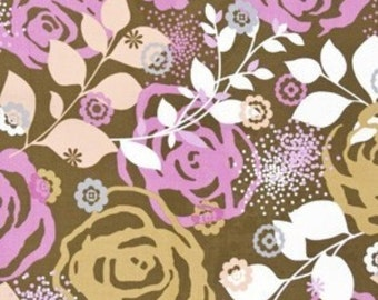 CLEARANCE - Erin McMorris Weekends - Saturday in Brown - 1 yard - Cotton Fabric