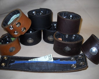 """Handmade USA 2"""" wide Leather Cuff Bracelet Men Women- Hidden ZIPPER compartment!"""