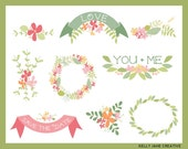 Hand Drawn Flower Wreaths, Garland and Leaves Design Elements - Instant Download - set 4