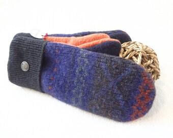 Purple GRAPE FAIR ISLE Mittens / Slouchy Beanie Fleece Lined Sweater Wool Mittens and Hat Gift Set Stocking Stuffer WormeWoole