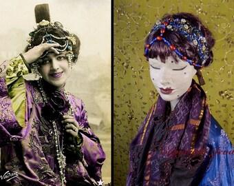 Hair Jewelry,Beaded Hair Jewelry,Embroidered Headpiece,Beaded Headpiece,1920s Headpiece,Belly Dance Headpiece,Art Deco,Art Nouveau,Headdress
