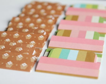 BUY 3 get 8 FREE- NEW - Mini Cards n Envelopes - Set of 8 - Pink, Green, Brown, Tan, White Stripes with Tulip Floral Design