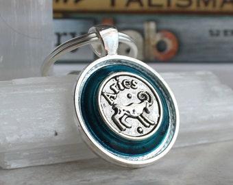 blue aries keychain, zodiac keychain, birthday gift, zodiac sign, April birthday, March birthday, astrology keychain, unique gift, mens gift
