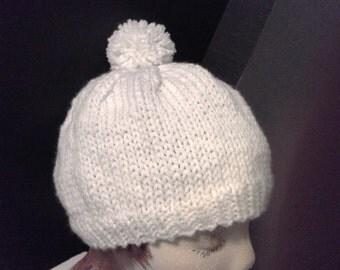 White Knit Cap, Knit Winter Hat