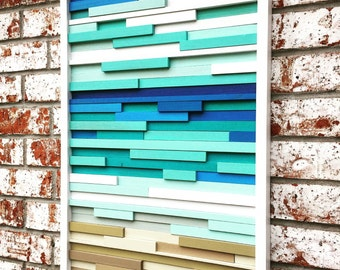 Wall Art - Wood Wall Art -  Wood Sculpture - Modern Reclaimed Wood - Ocean 20x40