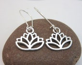 Silver lotus flower Earrings -  lotus charm earrings - kidney wires - silver lotus dangles - new age jewelry - yoga earrings