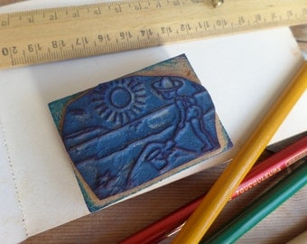 "Vintage FRENCH rubber stamp from school - Weather theme ""the sun"""