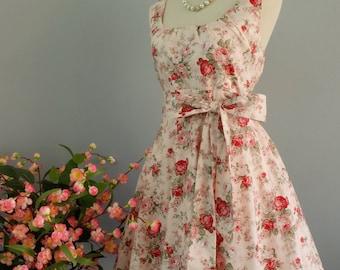 My Lady - Pale Pink Floral Dress Spring Summer Sundress Pink Floral Party Dress Pink Bridesmaid Dress Vintage Tea Dress XS-XL