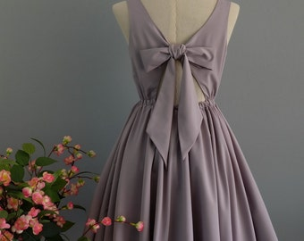 Pale gray dress backless dress gray party dress gray prom dress gray cocktail dress bow back dress pale gray bridesmaid dresses