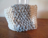 Chunky hand knit cowl in natural off white with grey and 3 vintage buttons and FREE SHIPPING to the 50 United States