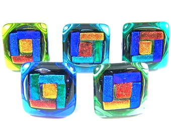 """Dichroic Glass Knobs - Set of 5 - Cabinet or Drawer Pull Handle - Arts and Crafts Geometric 1"""" / 25mm Blue Gold Copper Green - Custom Made"""
