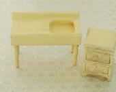 Strombecker dollhouse kitchen set - yellow - farmhouse sink and stove