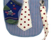 Upcycled Applique Polka Dot Tie Baby Bib Bundle
