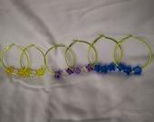 Spring Green Hoop Earrings with Acrylic Star Bears