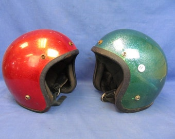 Vintage Sparkle Fiberglass Red & Green Motorcycle Helmets