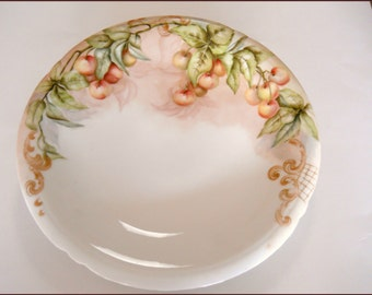 "Antique Limoges Hand Painted Porcelain Serving Bowl/Plate Hand Painted Fruit/Cherries - 11"" June SALE"