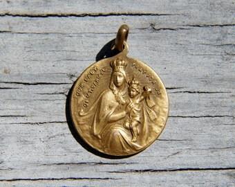 Vermeil Our Lady of Mt Carmel Sweet Heart of Jesus Pendant