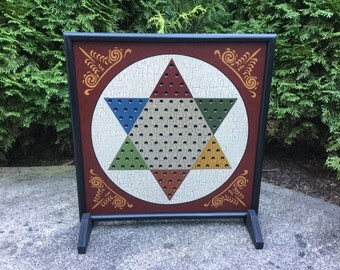 """19"""", Chinese Checkers, Game Board, Wood, Primitive, Colonial Decor, Folk Art, Game Boards, Wooden"""