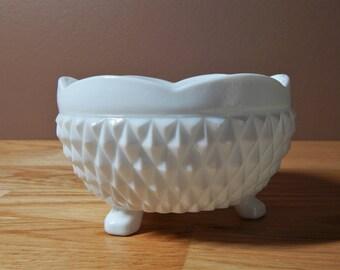 Vintage Footed Diamond Pattern Milk Glass Bowl