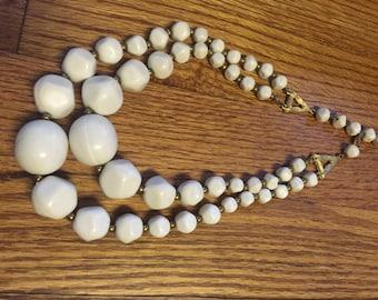 "Vintage 17"" Double Strand Brasstone White Multi Shape Beaded Necklace"