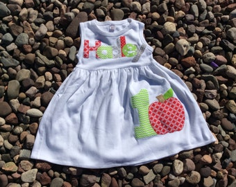 Girls Apple Birthday Dress Personalized Chevron Holiday Toddler School Tween