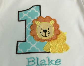 Boys Lion Birthday T Shirt Personalized Embroidered Applique Circus Zoo 1st 2nd 3rd Girls