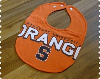 Syracuse University Orange Baby Bib, Recycled T-Shirt Baby Bib, Syracuse New York, Sports Baby, Gender Neutral Baby Shower Gift