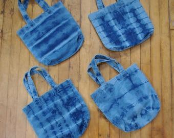 Reverse Tie Dye Denim Market Tote Bags