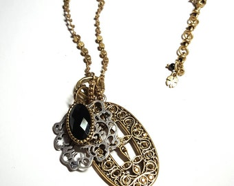 Tibetan Gold Filigree Metallic Gems Oval/Silver Ornate Flower/Gold Faceted Onyx Oval 3 Pendant Necklace w/Knotted Beaded Chain FREE SHIPPING
