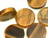 4 pcs Tiger's Eye 10 mm round coin cabochon thickness 2 mm  CB100