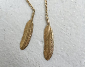 feather necklace, open, 70s gold chain link open ended feather necklace delicate, bohemian