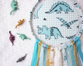 Dinosaur Dreamcatcher, Kids Room Decor, Aqua Blue, Large Dream Catcher, Baby Boy Room, Stegosaurus, Triceratops, Made to Order