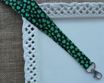Fabric Lanyard - TINY Lucky Shamrocks on Black