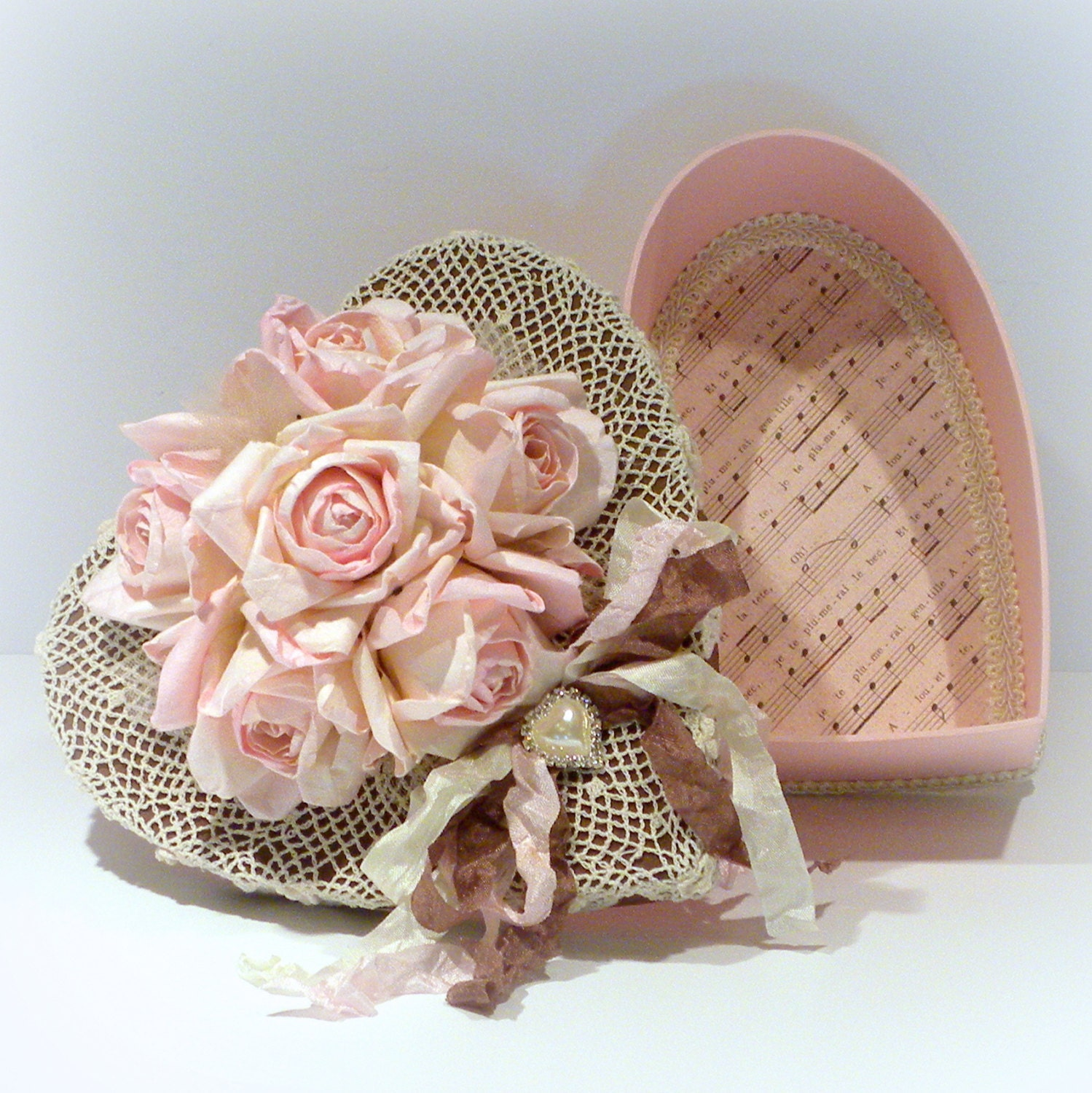 Shabby Chic Decor Shabby Heart Box Vintage Style Box