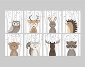 Baby Boy Nursery Art, Woodland Nursery Animals, Baby Room Decor, Forest Animal Prints, Set of 8 Owl Deer Rabbit Bear Squirrel Moose Raccoon