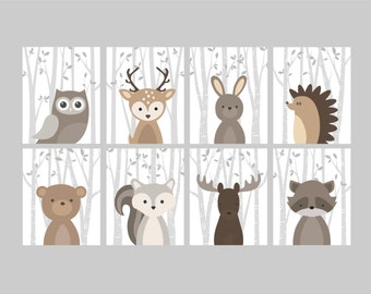 Baby Boy Nursery Art, Woodland Nursery Animals, Baby Room Decor, Forest Animal Prints, Set of 8 Owl Deer Rabbit Bear Squirrel Moose Raccoon