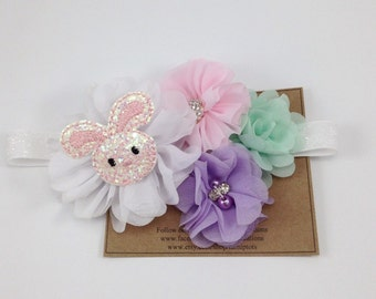 Pastel Headband Easter Headband Spring Headband Bunny Rabbit OTT Flower Headband Photo Prop Newborn Girls M2M Headband Pink Purple Mint