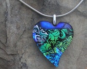 Blue Heart Pendant Fused Dichroic Glass Heart Necklace