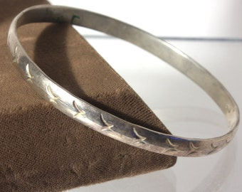 Sterling Silver Bangle Bracelet, Mexico, Narrow Silver Bangle, Abstract, Modernist, Design