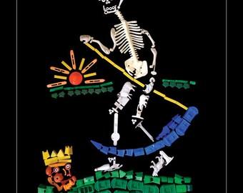 Tarot Card Poster Fantasy Print Occult Wall Art Black Wall Art Skeleton Death Card Fortune Telling Art Collage Horoscope 11 x 14 print