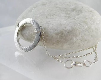 Sterling Silver Abstract, Modernist, Open Circular Sparkly Hammered Necklace - Designed And Handmade By CMcB Jewellery UK